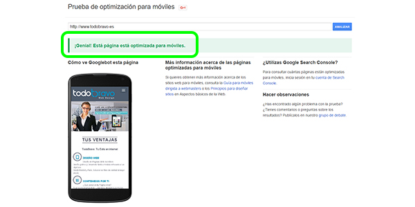 Visualización de la página web TodoBravo en un móvil